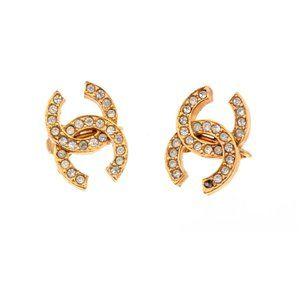 Chanel Vintage Gold Rhinestone CC Clip On  Earring